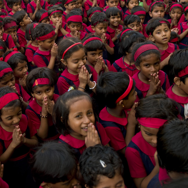 """Group Of Schoolchildren In Uniform Praying, Kochi, India"" stock image"