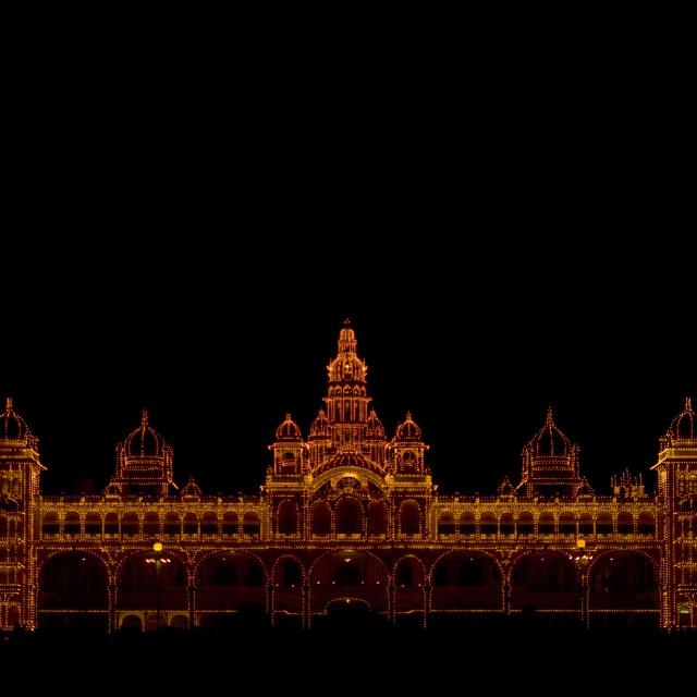 """""""Maharaja's Palace Illuminated At Night, Mysore, India"""" stock image"""