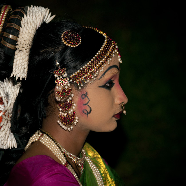"""Young Girl With Traditionnal Painting And Costum During A Ceremony, Periyar,..."" stock image"