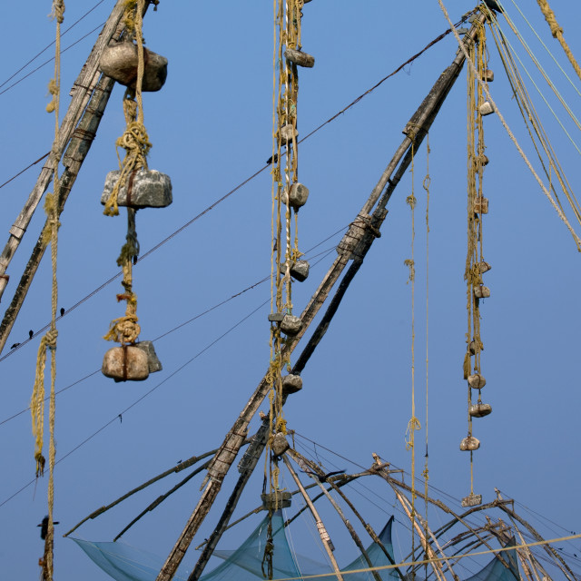 """Row Of Chinese Fishing Nets On Kochi Bay, India"" stock image"