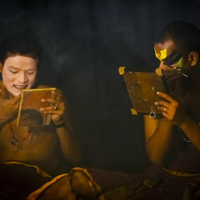 """Kathakali Dancers Applying Make-up, Kochi, India"" stock image"