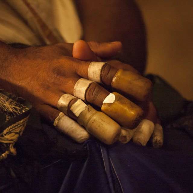 """Hands Of A Maddalam Player Covered By Rice-clay Finger Rings During A..."" stock image"