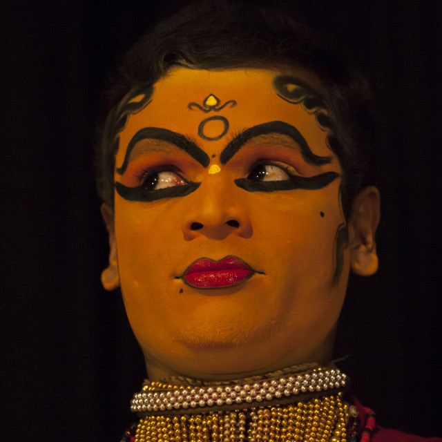"""Portait Of A Kathakali Dancer Performing A Woman Role With Traditional Face..."" stock image"