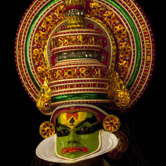 """Mysterious Kathakali Dancer With Traditional Face Make Up, Kochi, India"" stock image"