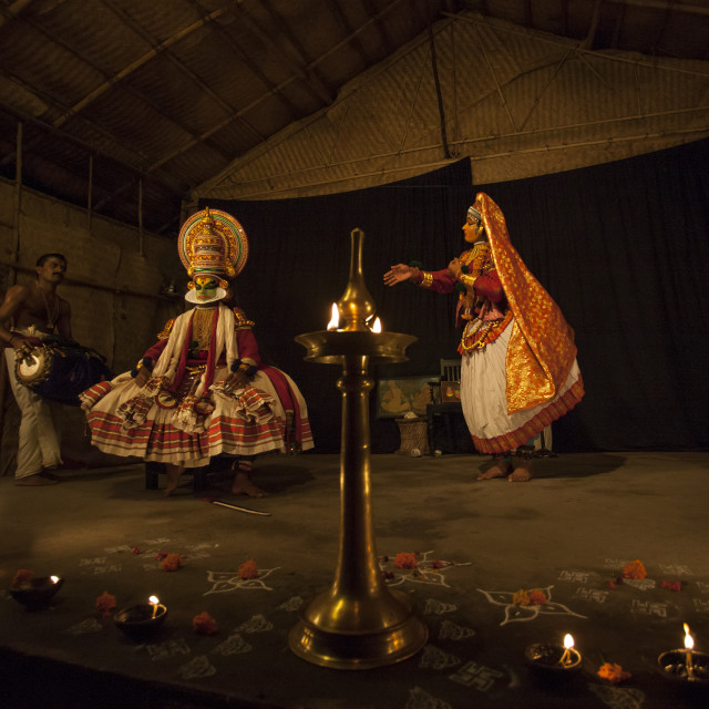 """""""Kathakali Dancers With Traditional Clothings And Make Up Accompanied By A..."""" stock image"""