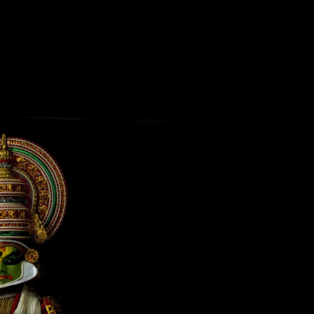 """Thoughtful Kathakali Dancer With Traditional Face Make Up, Kochi, India"" stock image"