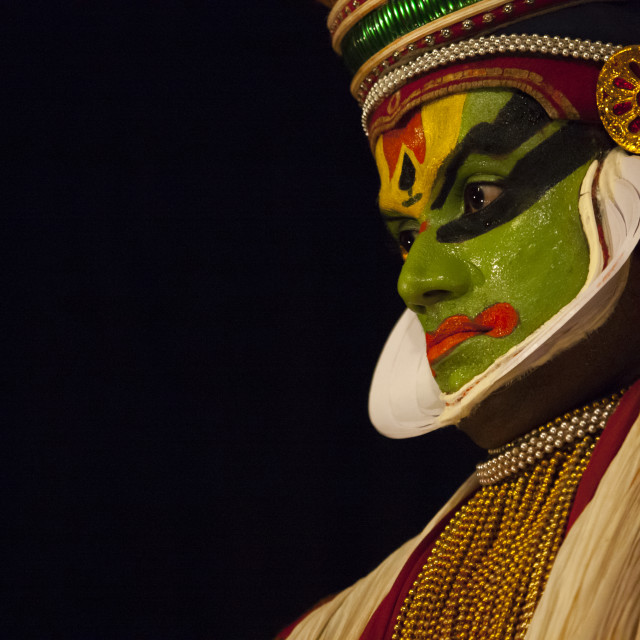 """Potrait Of A Kathakali Dancer With Traditional Face Make Up, Kochi, India"" stock image"
