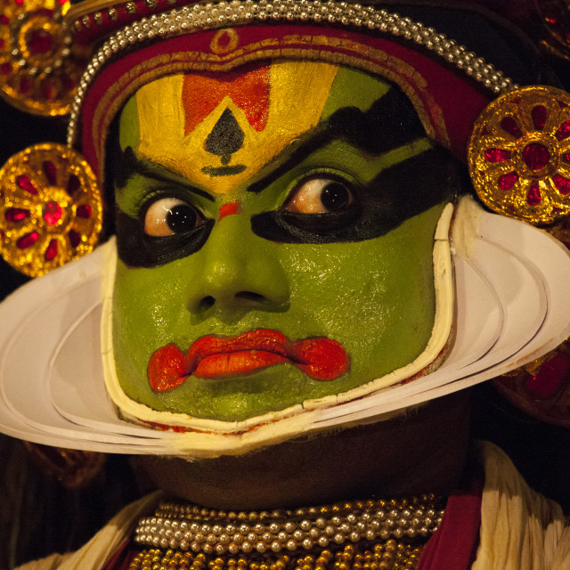"""Portrait Of A Kathakali Dancer Opening His Eyes Wide, Kochi, India"" stock image"