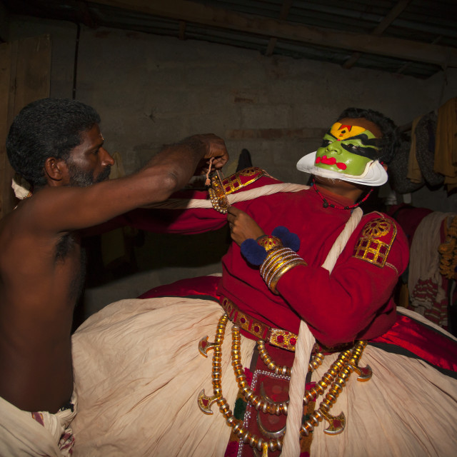 """Backstage With Kathakali Dancers In Fort Kochin, India"" stock image"