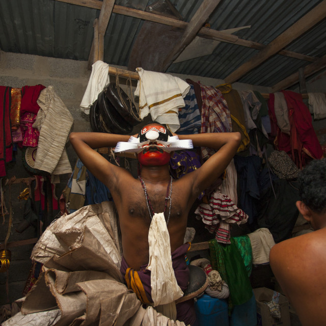 """""""Backstage With Kathakali Dancers In Fort Kochin, India"""" stock image"""