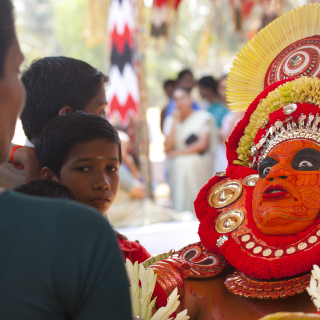 """Theyyam Aritst Making Big Eyes While Performing Theyyam Ritual, Thalassery,..."" stock image"