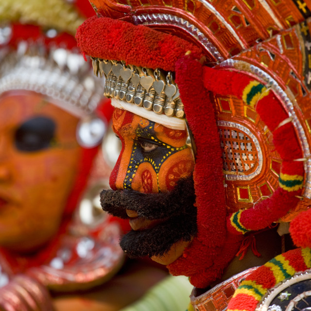"""Men Dressed For Theyyam Ritual With Traditional Painting On Their Face,..."" stock image"