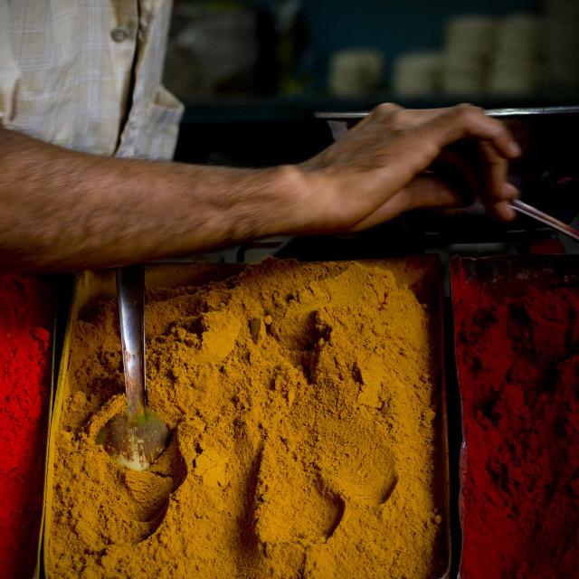 """Powders On A Market, Mysore, South India"" stock image"