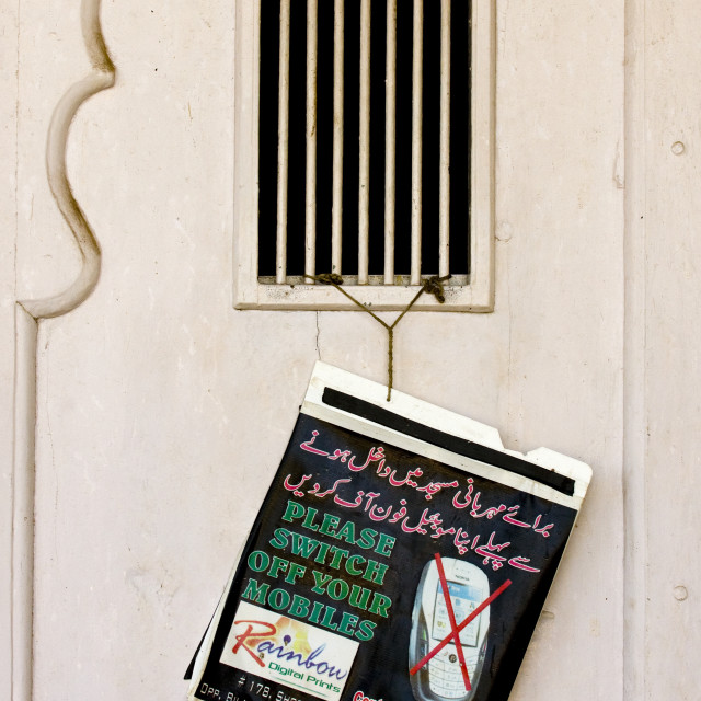 """""""Switch Off Your Mobile Sign In Bilal Mosque Door, Mysore, India"""" stock image"""