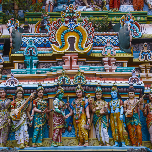 """Decorated Gopuram Full Of Figurines And Statues At Nataraja Temple,..."" stock image"