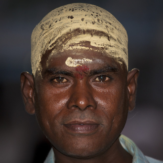 """Portrait Of A Indian Man With Shaved Head Covered With Sandalwood Paste At..."" stock image"