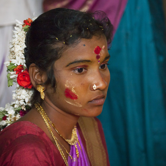 """Young Bride With Traditional Painting On Her Forehead Jewels And A Flower..."" stock image"