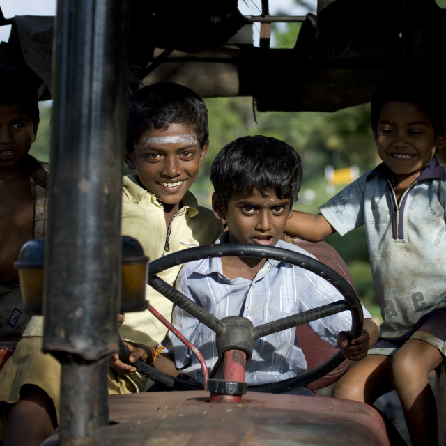 """""""Young Group Of Friends Driving A Tractor And Having Fun, Madurai, India"""" stock image"""