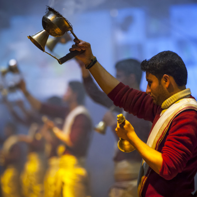 """Evening Ganga Aarti Ritual On The Ghats, Varanasi, India"" stock image"