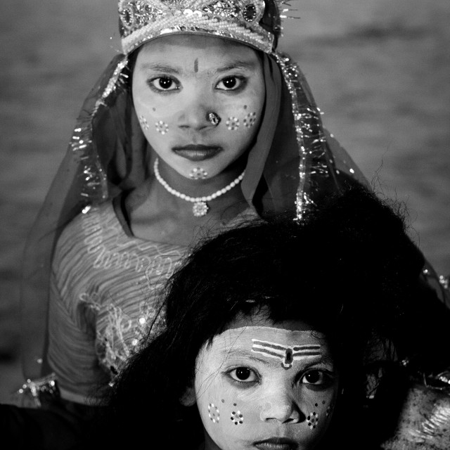 """Young Girls With Shiva Make Up, Maha Kumbh Mela, Allahabad, India"" stock image"