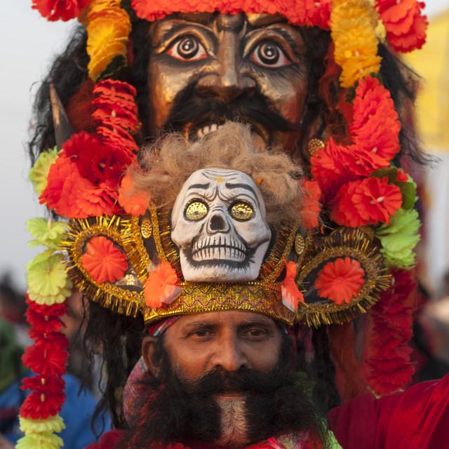 """""""Man With A Giant Headwear, Maha Kumbh Mela, Allahabad, India"""" stock image"""