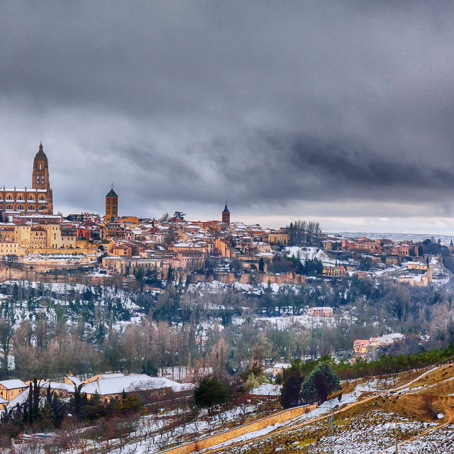 """Segovia in Spain snowed in winter."" stock image"