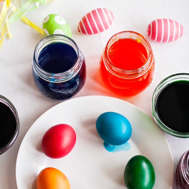 """""""Painting eggs for Easter"""" stock image"""