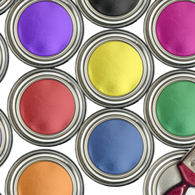 """Paint tins of different colurs with a paintbrush, from above"" stock image"