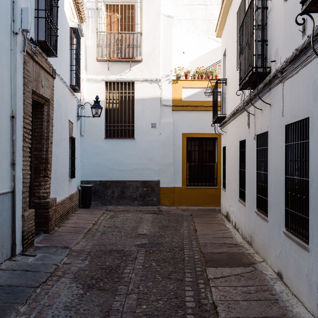 """""""Old typical narrow street in the jewish quarter of Cordoba with"""" stock image"""