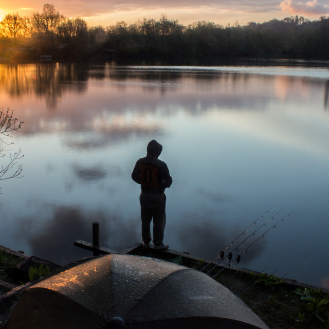 """Sunrise Carp Angler overlooking Lake"" stock image"