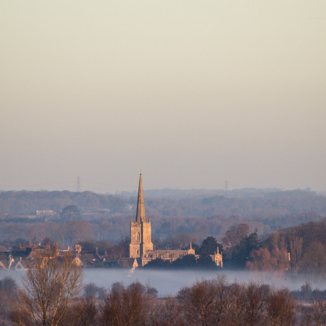 """Sunrise over Lechlade Church"" stock image"