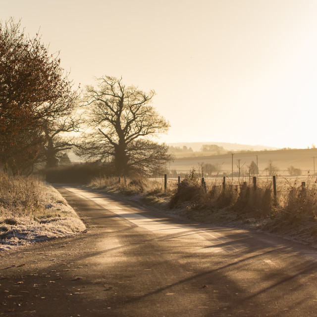 """Frosty Countryside Lane"" stock image"
