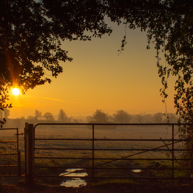 """Sunrise over the British Countryside"" stock image"