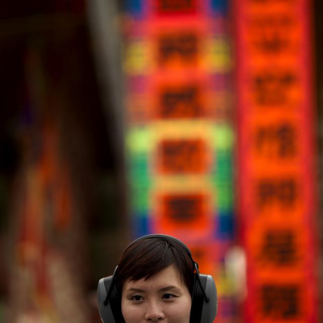 """""""Journalist In She Huo, Cheung Chau, Hong Kong, China"""" stock image"""