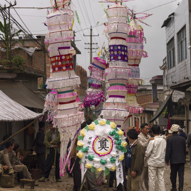 """""""Giant White Lanterns During A Funeral Procession, Yuanyang, Yunnan Province,..."""" stock image"""