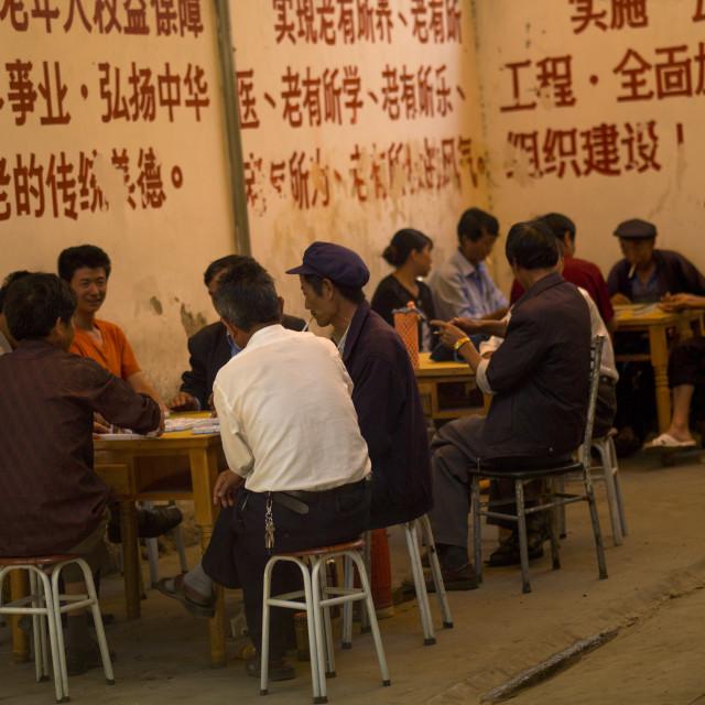 """""""People Playing Chinese Chess, Xizhou, Yunnan Province, China"""" stock image"""
