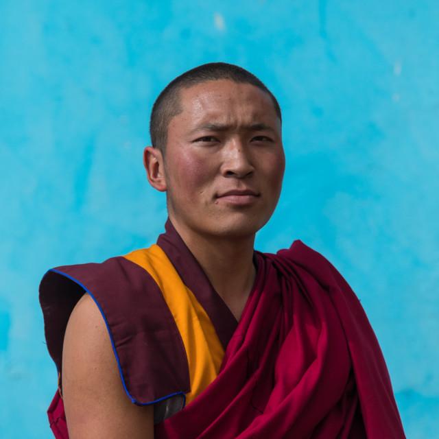 """Portrait of a tibetan monk in Shachong monastery, Qinghai Province, Wayaotai,..."" stock image"