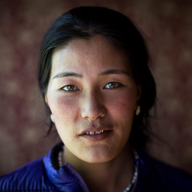 """Portrait of a beautiful tibetan nomad woman, Tongren County, Longwu, China"" stock image"