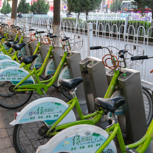 """Self-service bicycles in the city center, Gansu province, Lanzhou, China"" stock image"