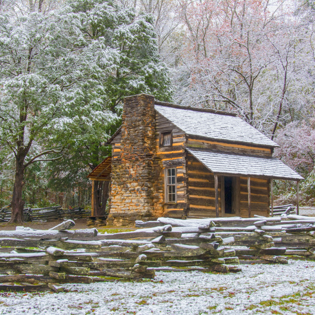 """Snowy Log Cabin"" stock image"