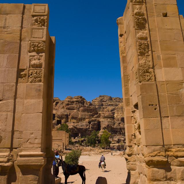 """""""Royal Tombs Seen Through Roman Door, Petra, Jordan"""" stock image"""