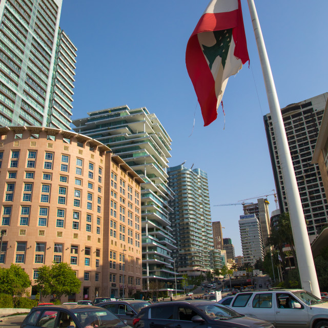 """""""Giant lebanese flag in front of luxury residential buildings in central..."""" stock image"""