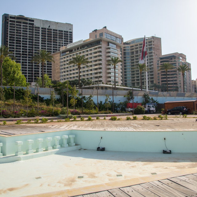 """""""Empty pool in front of luxury residential buildings on the corniche, Beirut..."""" stock image"""