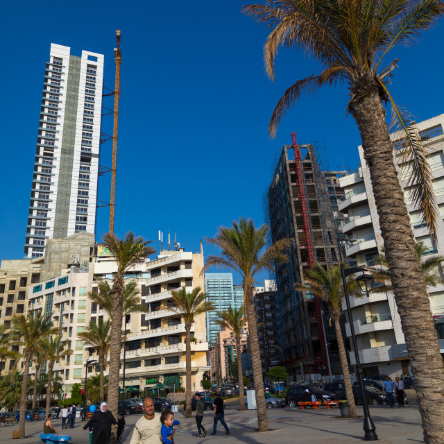 """""""Luxury residential buildings in the corniche, Beirut Governorate, Beirut,..."""" stock image"""