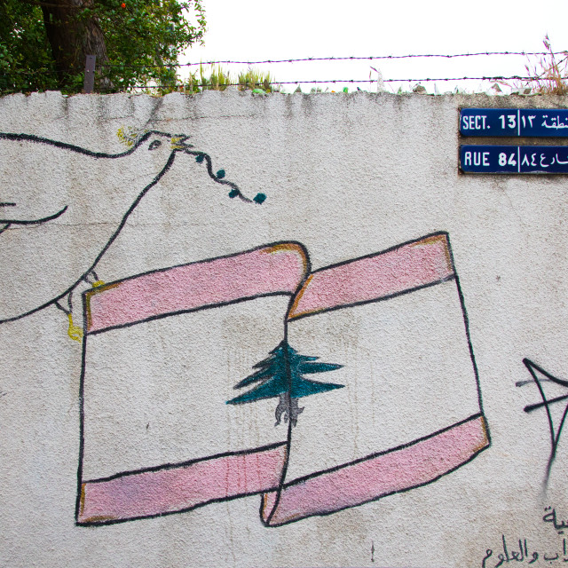 """""""Doves of peace drawn on a wall in the street, North Governorate, Tripoli,..."""" stock image"""