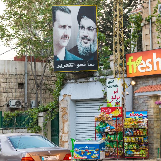 """Bashar Al-Assad and Hassan Nasrallah portraits in the street, Beqaa..."" stock image"