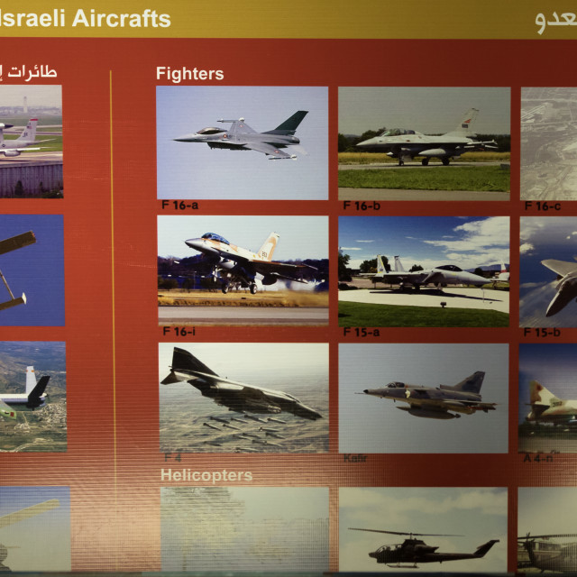 """""""Israeli jets in the war museum operated by Hezbollah called the tourist..."""" stock image"""