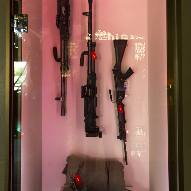 """""""Israeli weapons in the war museum operated by Hezbollah called the tourist..."""" stock image"""