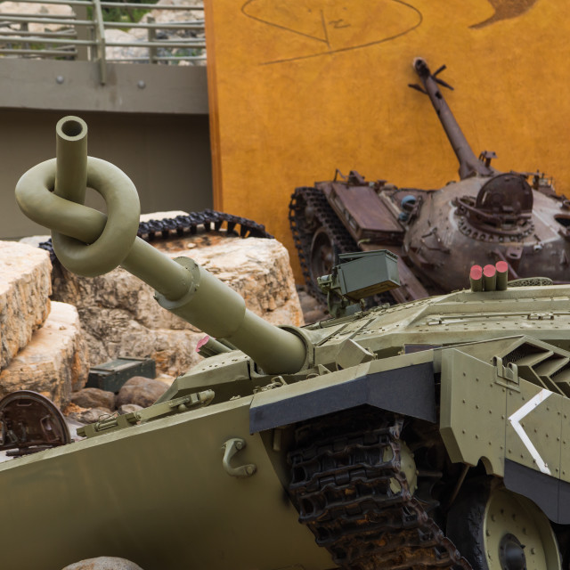 """""""Israeli tank in the war museum operated by Hezbollah called the tourist..."""" stock image"""