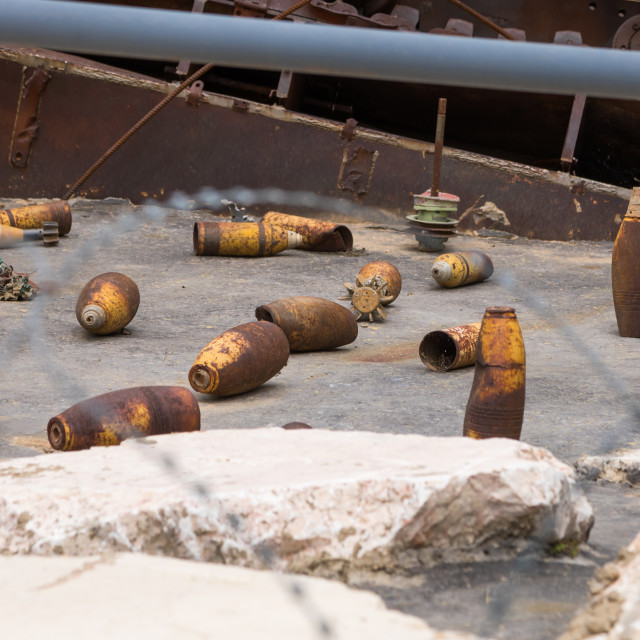 """""""Israeli rockets in the war museum operated by Hezbollah called the tourist..."""" stock image"""